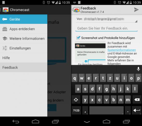 Nutzt die Chromecast-App, um Feedback direkt an Google zu senden.