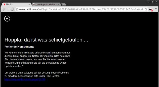 Aufgrund fehlender DRM-Unterstützung bleibt der Bildschirm unter Chromium oder Firefox schwarz.