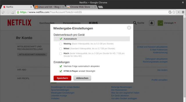 In den Einstellungen sollte der HTML5-Player von Netflix aktiviert sein.