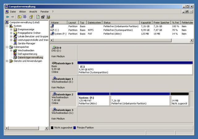 Die Computerverwaltung verrät, unter welcher Datenträgernummer die SD-Karte geführt wird.