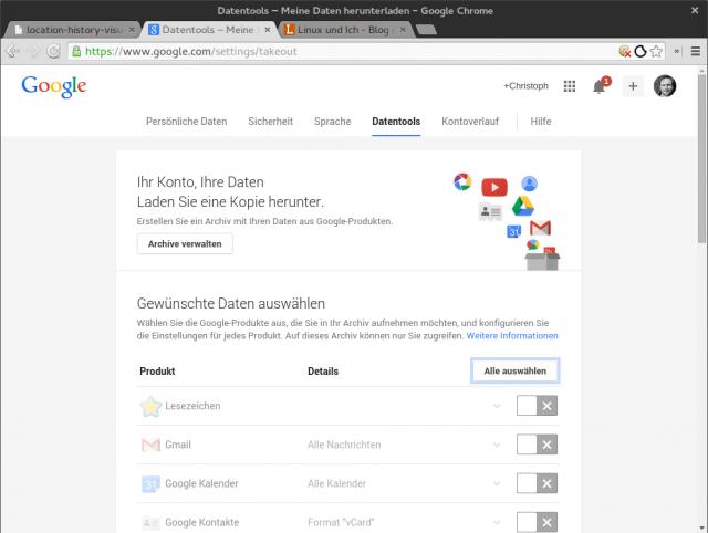 Über Takeout könnt ihr sämtliche bei Google über euch gespeicherten Daten herunterladen.