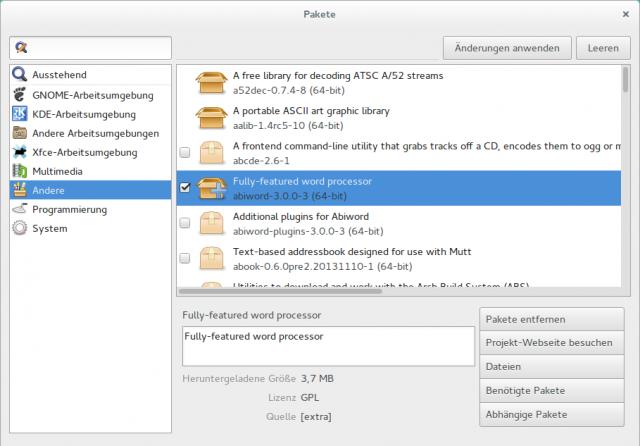 Pacman unterstützt inzwischen PackageKit, sodass man Gnomes praktische Pakete-App auch unter Arch nutzen kann.