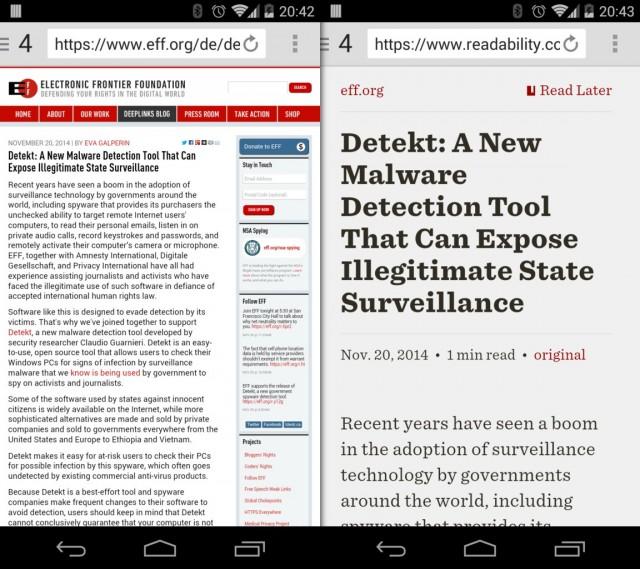 Ein Artikel aus dem Blog der EFF mit und ohne Readability.