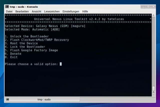 Mit dem Universal Nexus Linux Toolkit entsperren ihr den Bootloader und spielen ein Custom-Recovery ein.
