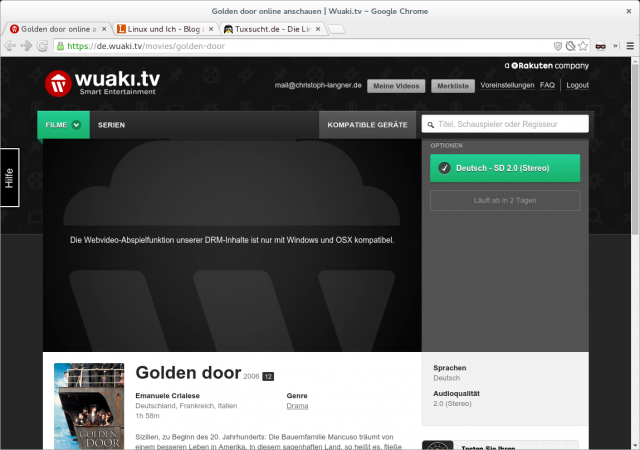 Unter Linux verweigert Wuaki in den Grundeinstellung komplett den Dienst.