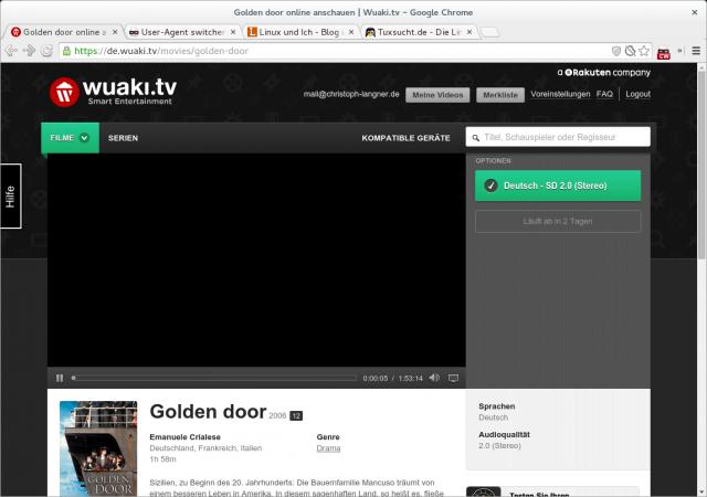 Die Wiedergabe eines Wuaki-Videos stoppt allerdings trotz Windows-User-Agent nach wenigen Sekunden.