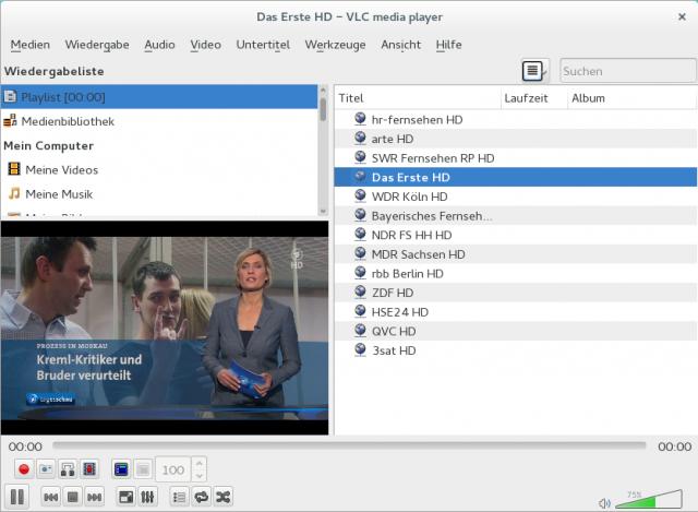 Aufgrund fehlendem CI Plus-Modul gibt es nur öffentlich rechtliche Sender in HD-Qualität.