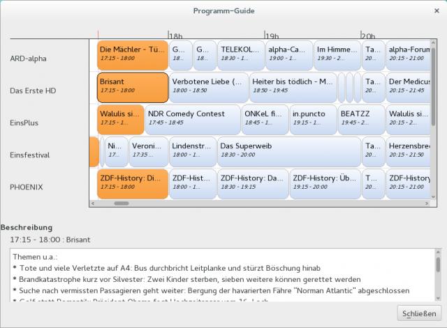 VLC und der AVM FritzWLAN Repeater DVB-C bringt auch einen EPG mit.