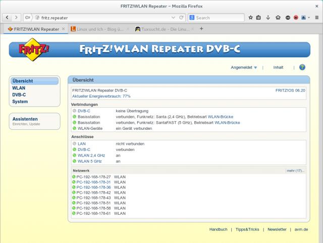 Das Web-Frontend des AVM FritzWLAN Repeater DVB-C wurde um ein TV-Menü ergänzt.