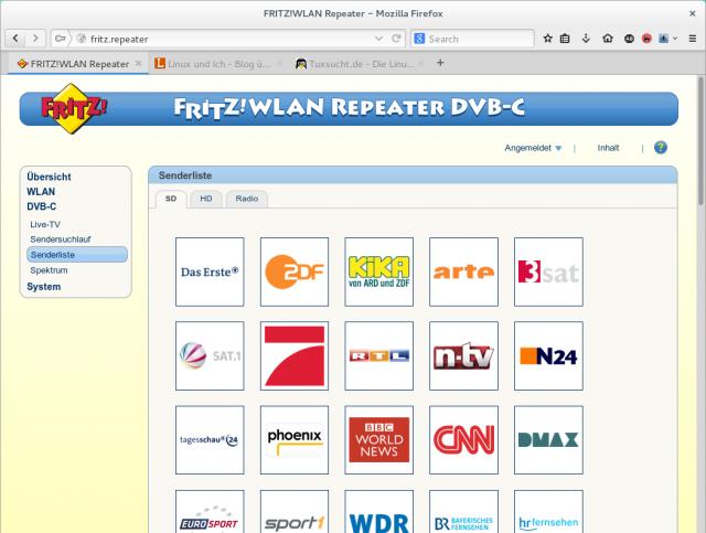 Nach dem Sendersuchlauf zeigt der FritzWLAN Repeater DVB-C die gefundenen Sender an.