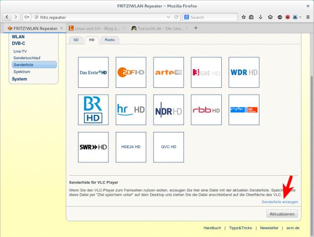 Die Playlist mit den für den VLC-Player gedachten Senderlisten findet ihr im Web-Frontend.