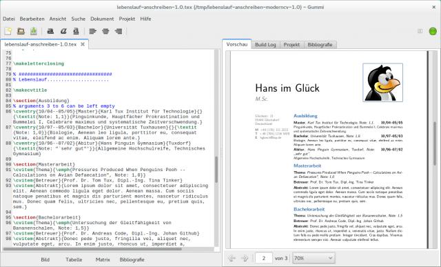 Mit Gummi seht ihr Änderungen am LaTeX-Code umgehend auch im Dokument.