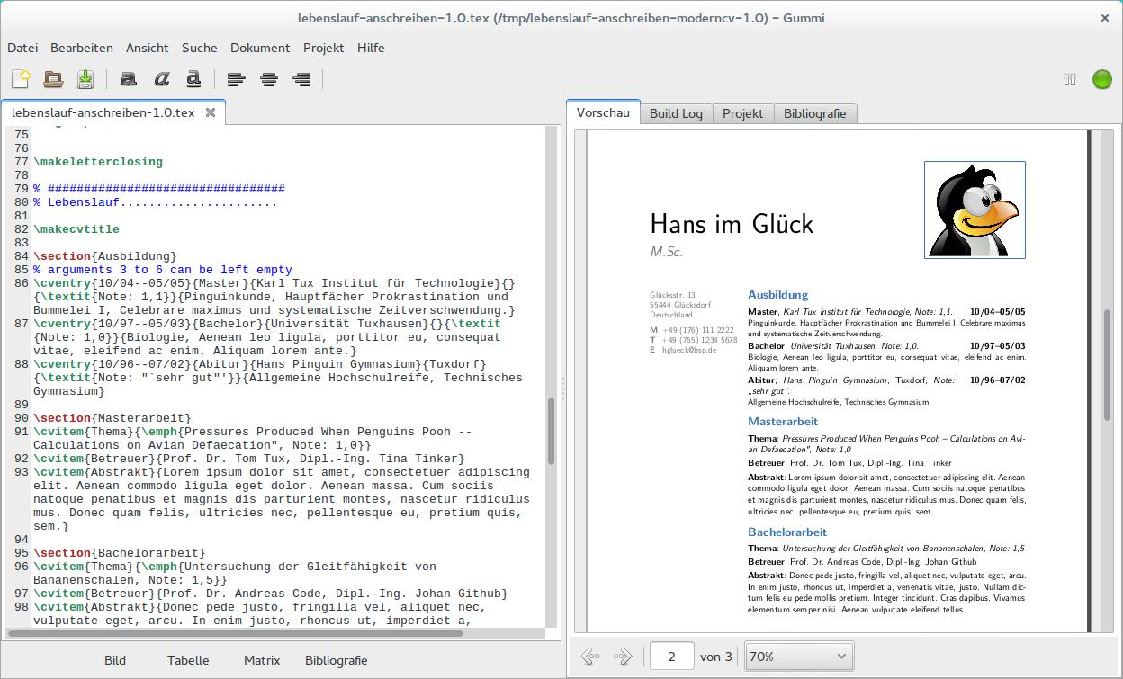 Bewerbungen und Lebensläufe mit LaTeX und Moderncv gestalten › Linux ...