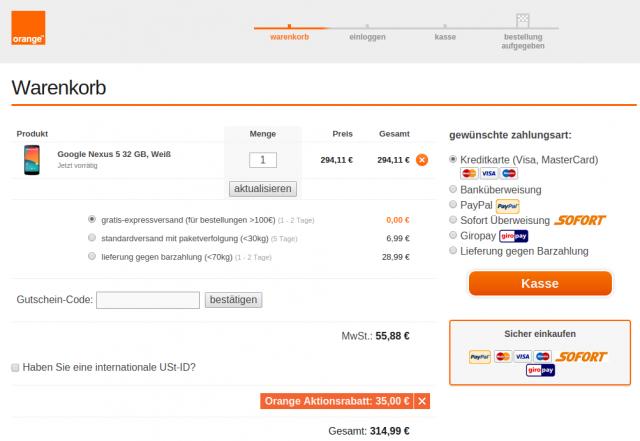 Bei Orange gibt es das LG Nexus 5 mit 32 GByte Speicherplatz für wenig mehr als 300 Euro.