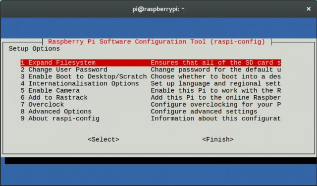 Raspi-config lässt sich auch beim Tausch der Speicherkarte dazu benutzen, den Speicherplatz der SD-Karte komplett auszureizen.