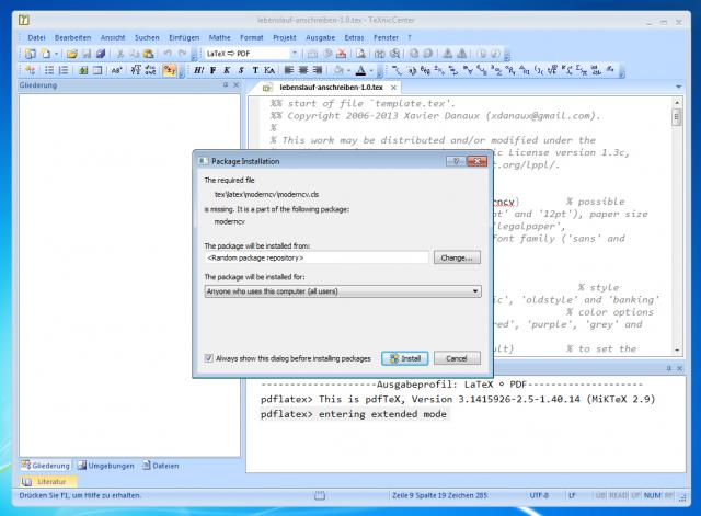 MiKTeX holt sich beim Bauen des LaTeX-Dokuments fehlende Klassen aus dem Netz.