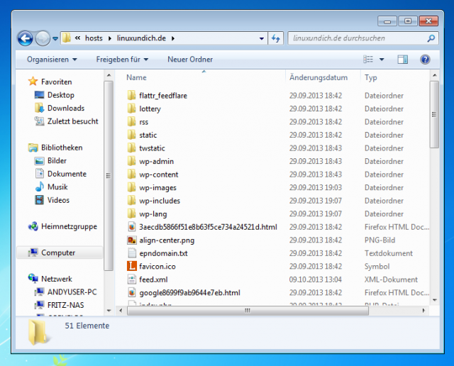 Der SSH/SFTP-Server erscheint in Windows wie ein Netzwerklaufwerk.