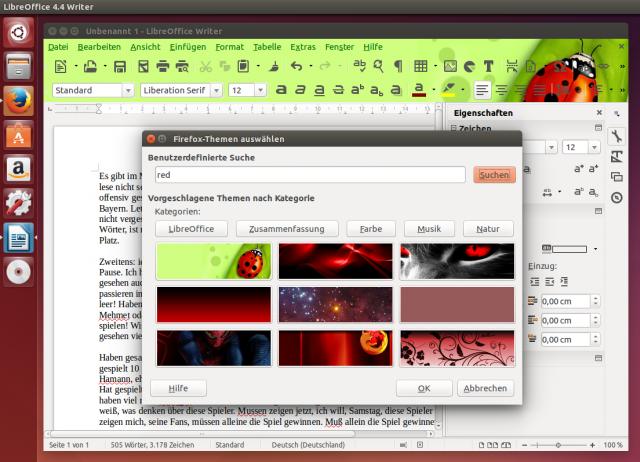 Schön bunt! LibreOffice kann die von Firefox bekannten Persona-Themes aus dem Netz laden.