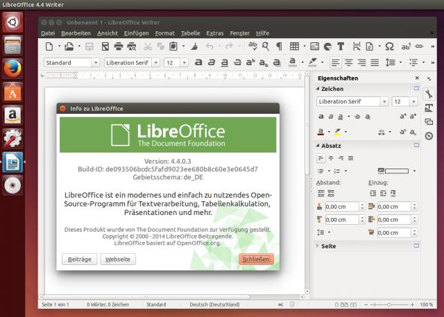 Das neue LibreOffice 4.4 unter Ubuntu 14.10.