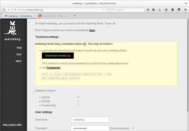 Wallabag lässt sich mithilfe eines Einrichtungsassistenten leicht auf einem Webserver installieren.