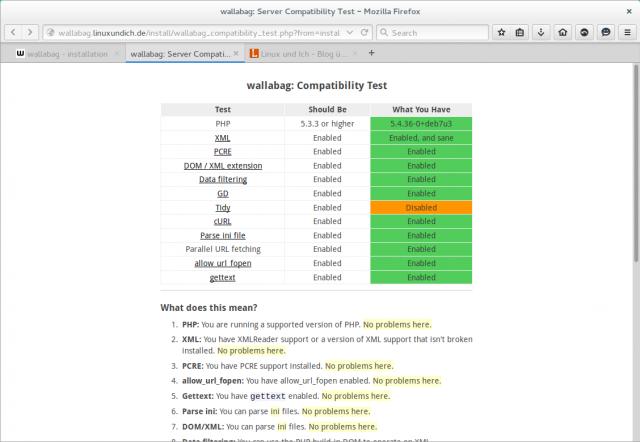 Ein kleines Tool verrät, ob alle Abhängigkeiten von Wallabag auf dem Server erfüllt sind.