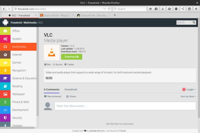 Neben Klassikern wie Firefox oder VLC listet Fossdroid auch zahlreiche unbekannte Apps.