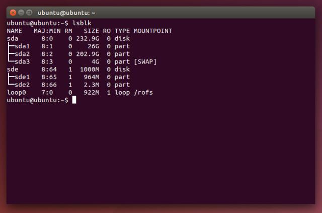 Lsblk gibt die Device-ID der im Rechner gefundenen Laufwerke übersichtlich aus.