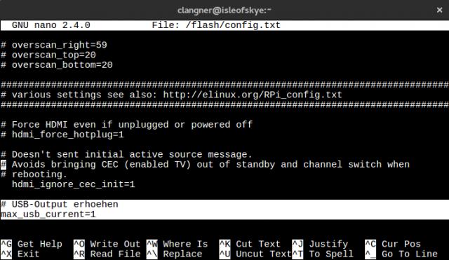 Über die config.txt des OpenELEC-System wird der USB-Output erhöht.
