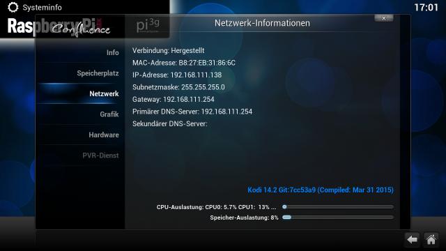 Die Systeminfos verraten euch ohne Umwege die IP-Adresse des RasPis.