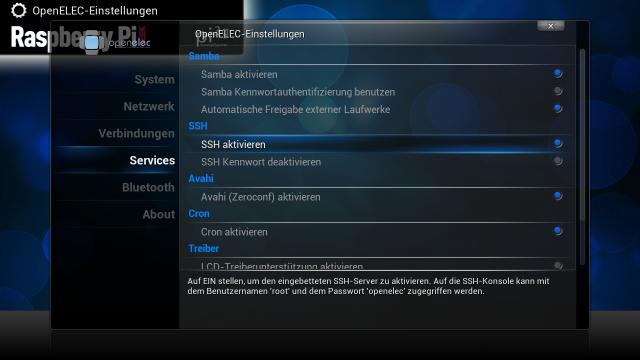 In den OpenELEC-Einstellungen muss der SSH-Server aktiviert werden.