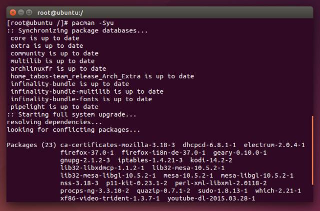 Mithilfe des Chroot lässt sich von Ubuntu aus direkt in Arch arbeiten.