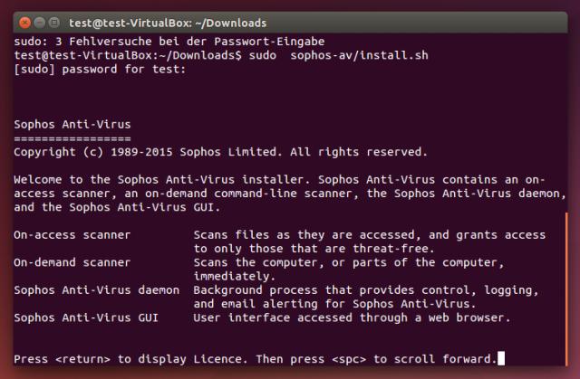 Der Virenscanner Sophos Anti-Virus for Linux wird über das Terminal installiert.