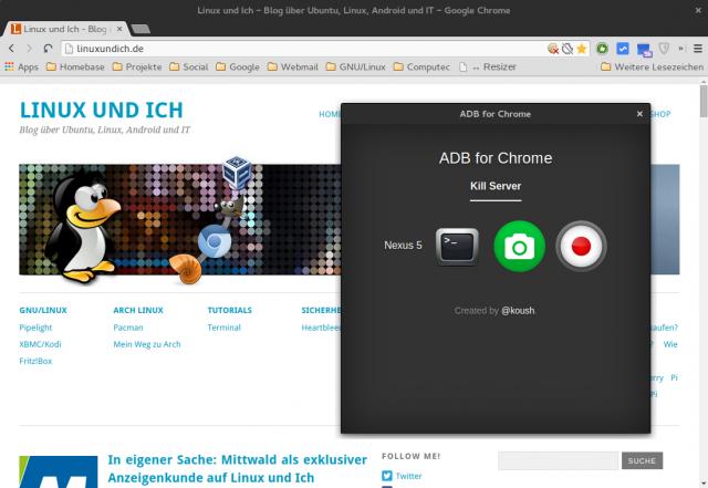 Mit ADB für Chrome muss man Android Studio und die SDK Tools nicht mehr zwingend installieren.