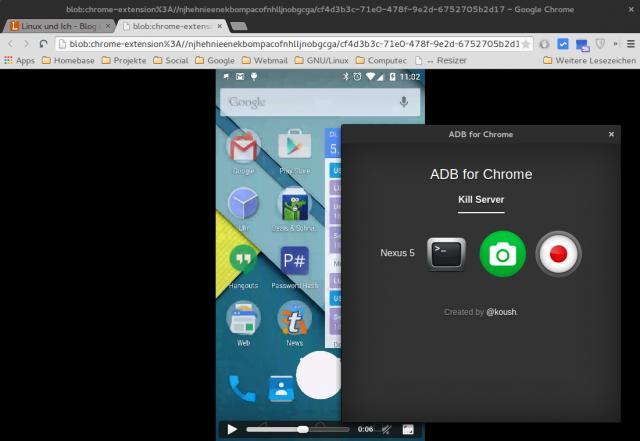 Der abgefilmte Android-Desktops landet danach als Videodatei auf der Festplatte.