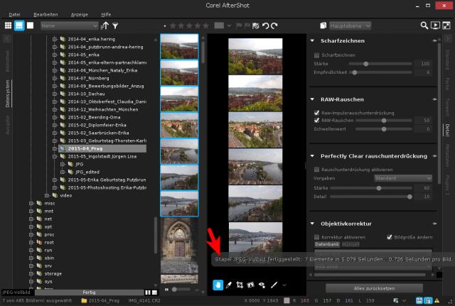 AfterShot Pro zeigt die Dauer eines längeren Prozess als kleines Popup an.