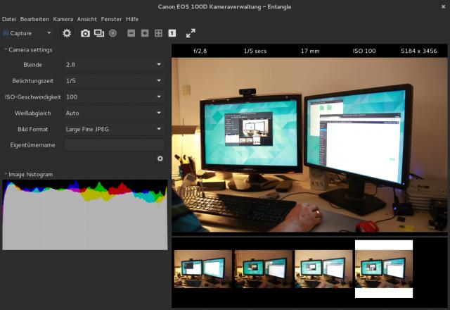 Mit Entangle fällt das schießen von Live-View-Aufnahmen unter Linux leicht.
