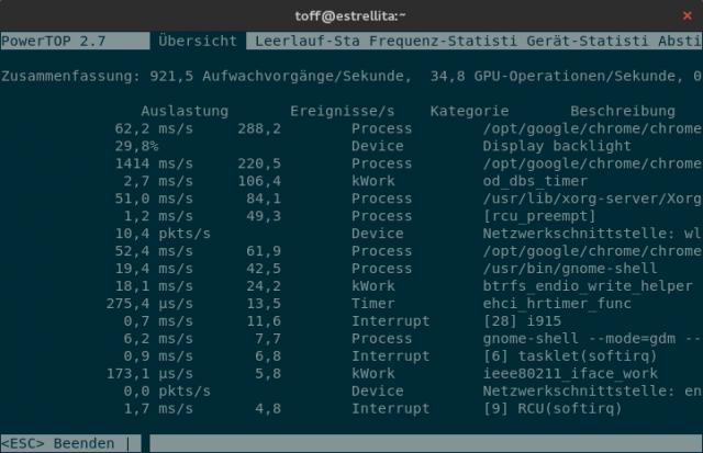 Powertop hilft Linux-Usern beim Optimieren der Akkulaufzeit.