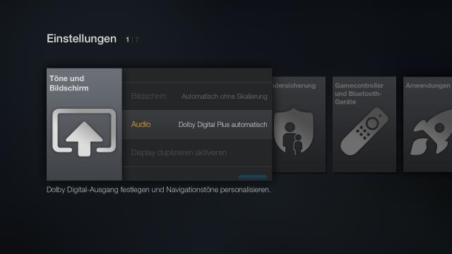 Für brauchbaren Sound eines Fire TV an einem herkömmlichen Stereo TV schaltet ihr Dolby Digital Plus ab.