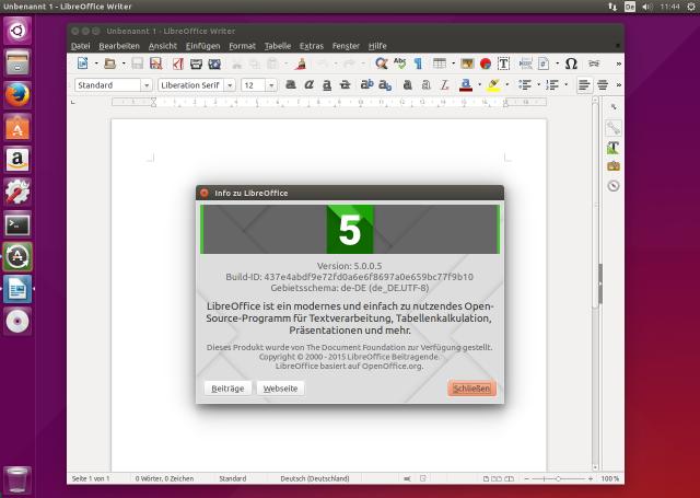 LibreOffice 5.0 unter Ubuntu 15.04.