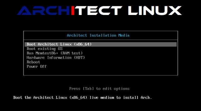 Architect muss wie ein herkömmliches Live-Linux von DVD oder USB-Stick gebootet werden.