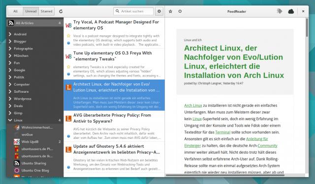 FeedReader synchronisiert seine Daten mit TinyTinyRSS, Feedly und demnächst Owncloud.
