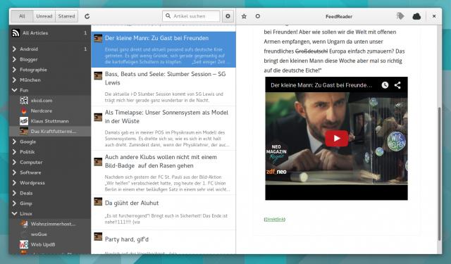 Eingebettete aktive Elemente wie YouTube-Videos zeigt FeedReader direkt in der Anwendung an.