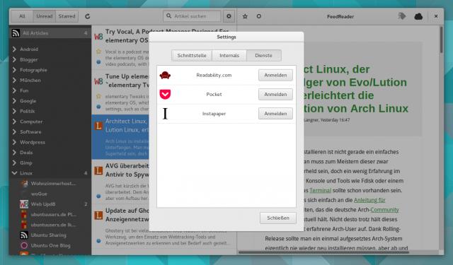Wer will kann Inhalte aus FeedReader mit Readability, Pocket oder Instapaper weiterleiten.