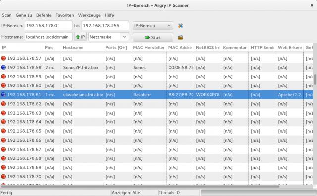Mit dem Angry IP Scanner lässt sich besonders leicht das Netzwerk durchstöbern.