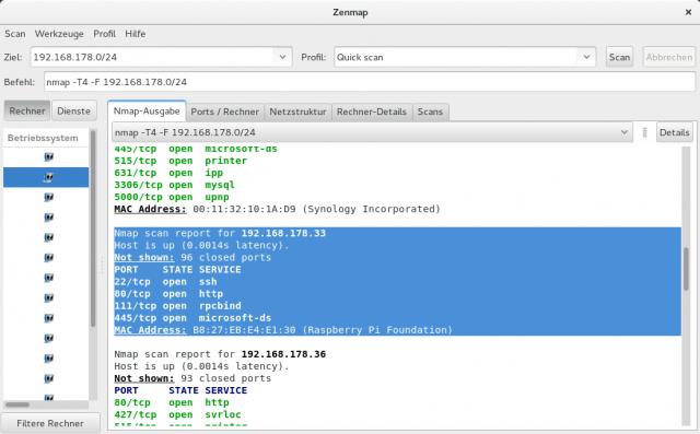Natürlich findet auch das Zenmap, das grafische Frontend zu Nmap, einen headless RasPi im Netz.
