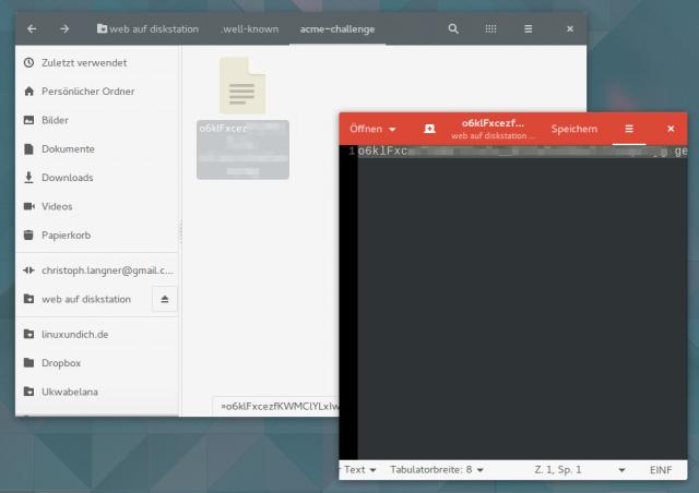 Die von Let's Encrypt angeforderte Authentifizierungs-Datei kann man auch direkt per Editor auf das NAS schaffen.