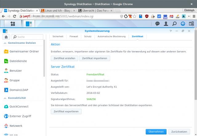 Nach der Installation der Zertifikate sollte das NAS nun ordentlich über HTTPS erreichbar sein.