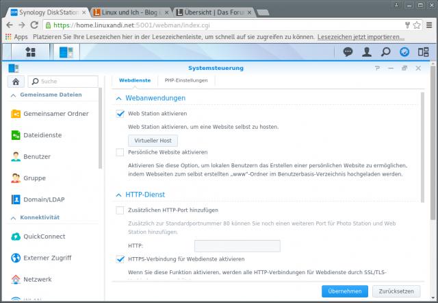 Auf dem NAS-System muss der Webserver mitsamt HTTPS-Erweiterung aktiv sein.
