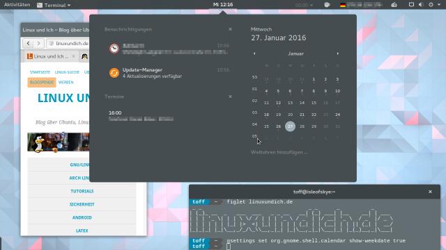 Für die Anzeige der Kalenderwochen im Kalender-Widget braucht Gnome keine zusätzliche Erweiterung.