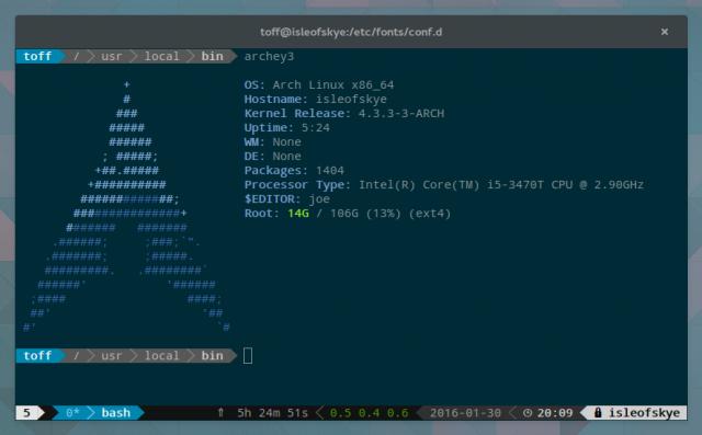 Unter Arch Linux fällt die Installation von Powerline nicht weiter schwer.